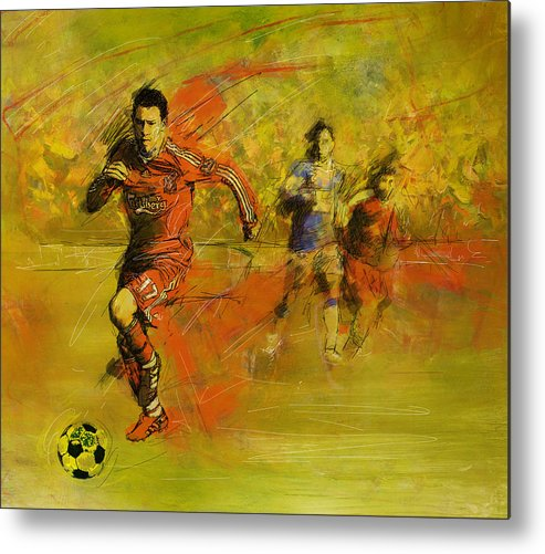 Sports Metal Print featuring the painting Soccer by Corporate Art Task Force