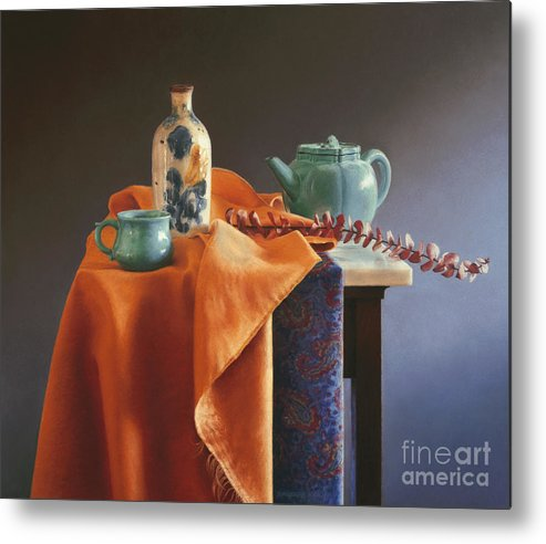 Still Life Metal Print featuring the painting Glazed With Light by Barbara Groff