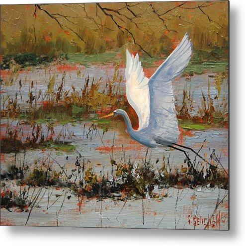 Heron Metal Print featuring the painting Wetland Heron by Graham Gercken