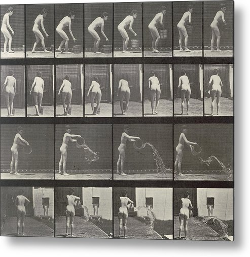 Muybridge Metal Print featuring the photograph Woman Throwing A Bucket Of Water by Eadweard Muybridge