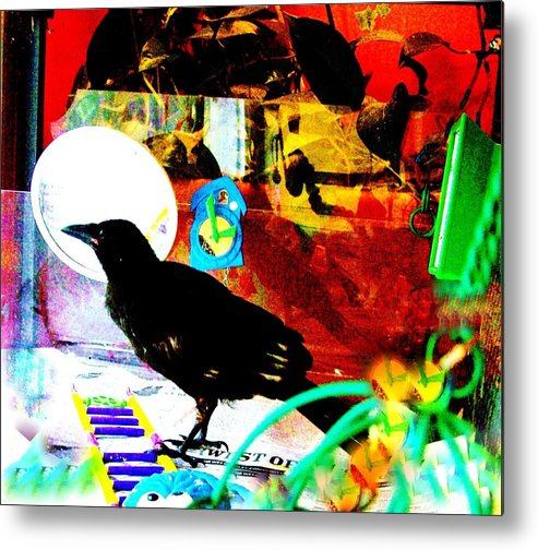 Crow. Bird Music Metal Print featuring the mixed media Crow's Piano by YoMamaBird Rhonda