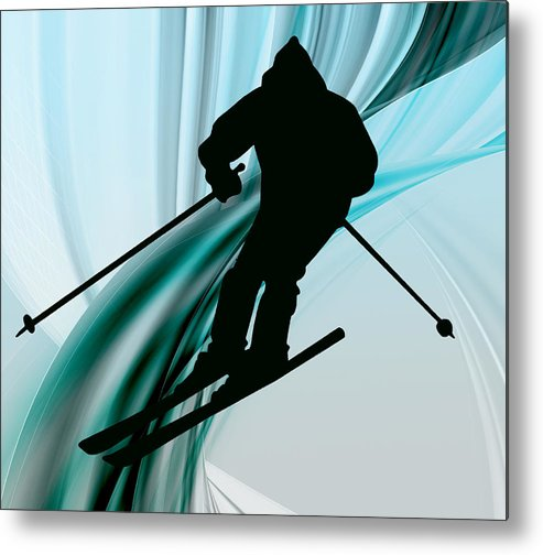 Ski Metal Print featuring the painting Downhill Skiing On Icy Ribbons by Elaine Plesser