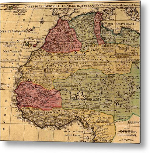1742 French Map Of Northwest Africa Metal Print by Everett