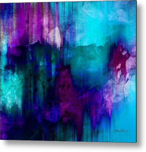 Abstract Metal Print featuring the painting Blue Rain Abstract Art  by Ann Powell