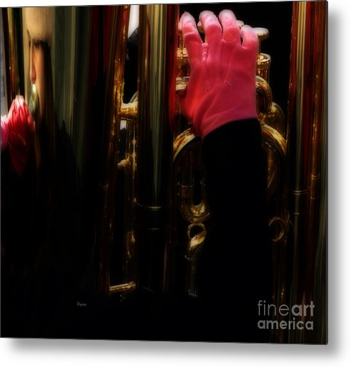 Tuba Metal Print featuring the photograph Tuba With Pink by Steven Digman