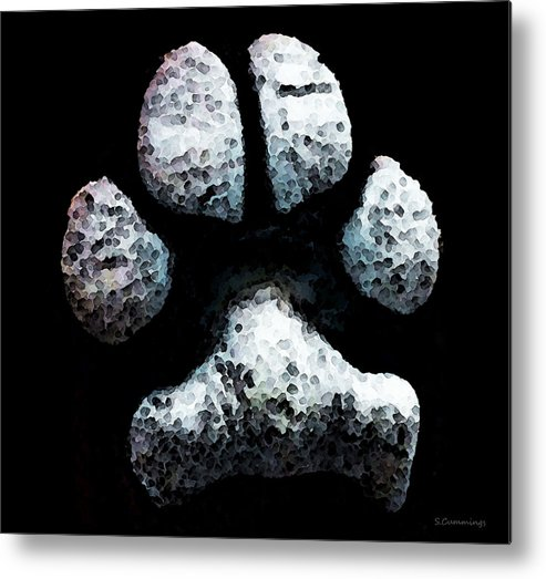 Paw Metal Print featuring the painting Animal Lovers - South Paw by Sharon Cummings