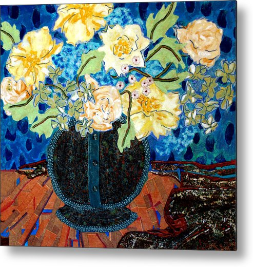 Flowers In A Vase Metal Print featuring the mixed media Button Up Vase by Diane Fine