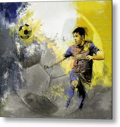 Sports Metal Print featuring the painting Football Player by Catf