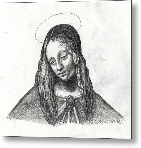 Mary Metal Print featuring the painting Mary After Davinci by Genevieve Esson