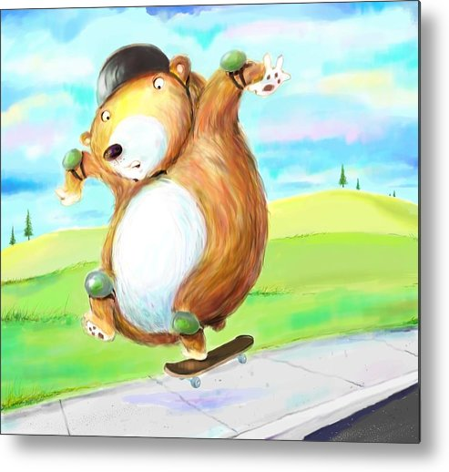 Skateboard Metal Print featuring the digital art Skateboarding Bear by Scott Nelson