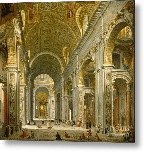 Interior Metal Print featuring the painting Interior Of St. Peter's - Rome by Giovanni Paolo Panini