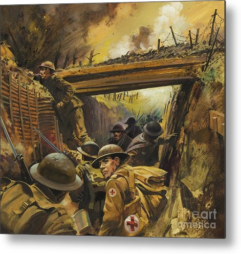 Soldier Metal Print featuring the painting The Trenches by Andrew Howat
