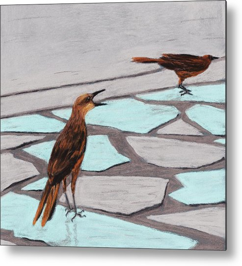 Death Valley Metal Print featuring the painting Death Valley Birds by Anastasiya Malakhova