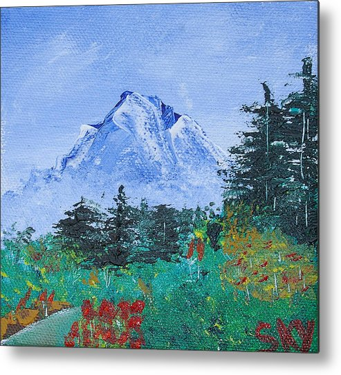 Nature Metal Print featuring the painting My Mountain Wonder by Jera Sky