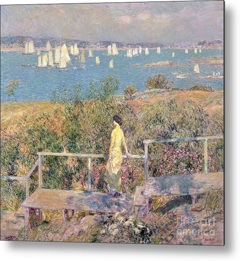 Yachts Metal Print featuring the painting Yachts In Gloucester Harbor by Childe Hassam