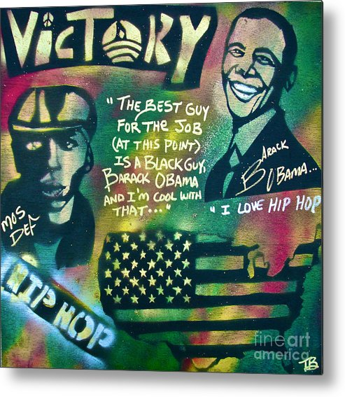 Barack Obama Metal Print featuring the painting Barack And Mos Def by Tony B Conscious