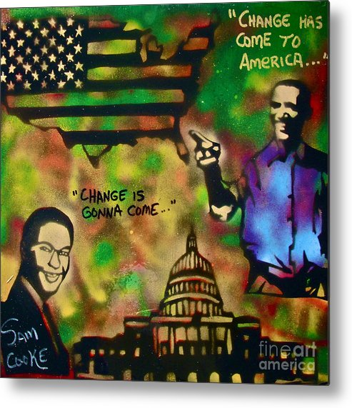 Barack Obama Metal Print featuring the painting Barack And Sam Cooke by Tony B Conscious