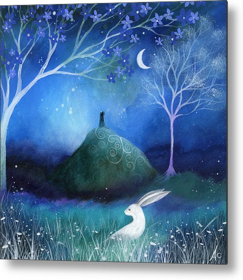 Landscape Metal Print featuring the painting Moonlite And Hare by Amanda Clark