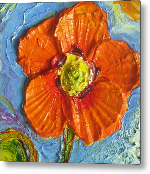 Orange Poppy Painting Metal Print featuring the painting Orange Poppy II by Paris Wyatt Llanso