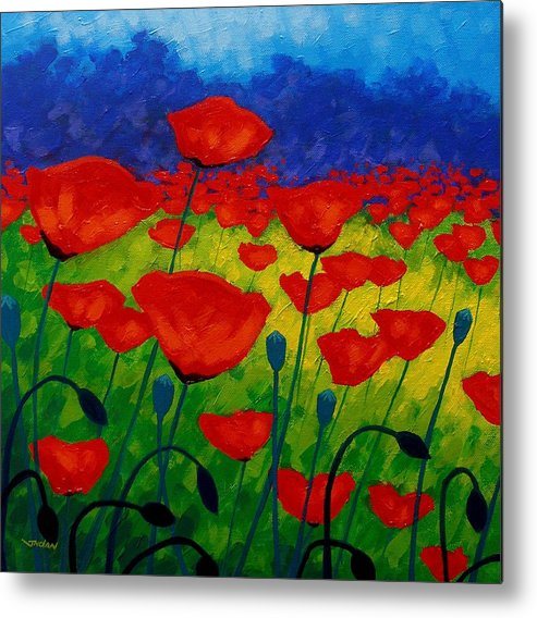 Poppies Metal Print featuring the painting Poppy Corner II by John Nolan