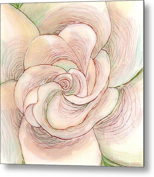 White Gardenia Metal Print featuring the painting White Gardenia 1 by Anna Skaradzinska