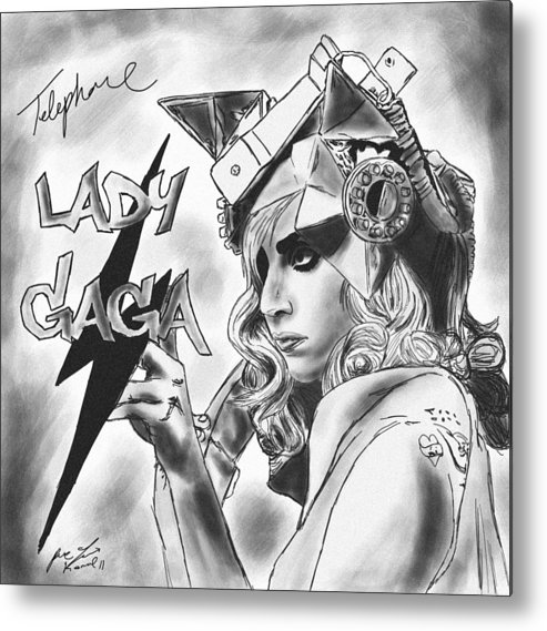 Lady Gaga Telephone Drawing Metal Print featuring the drawing Lady Gaga Telephone Drawing by Kenal Louis