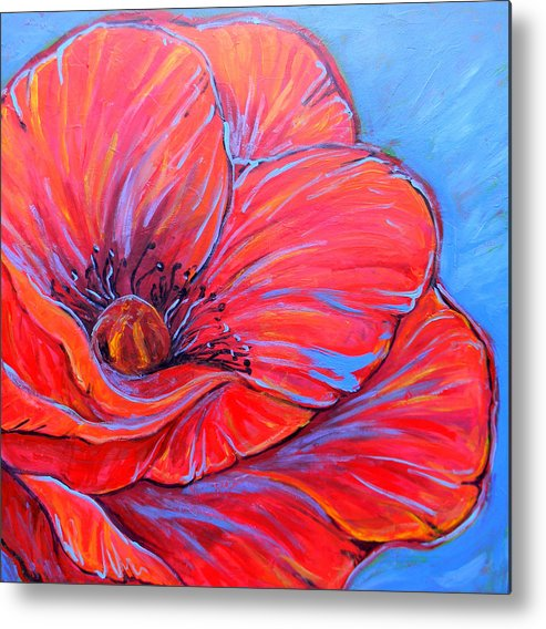 Red Metal Print featuring the painting Red Poppy by Jenn Cunningham