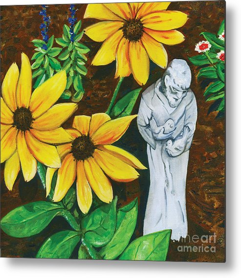 St. Francis Metal Print featuring the painting Frank And Susan by Laura Brightwood