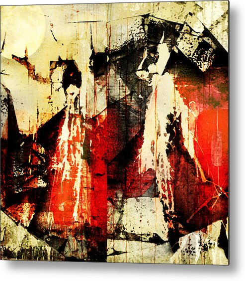 Abstract Metal Print featuring the photograph Little Red Riding Hood And The Big Bad Wolf Under A Yellow Moon by Jeff Burgess