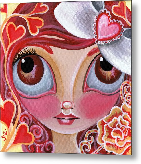 Red Metal Print featuring the painting Lovey Dovey by Jaz Higgins