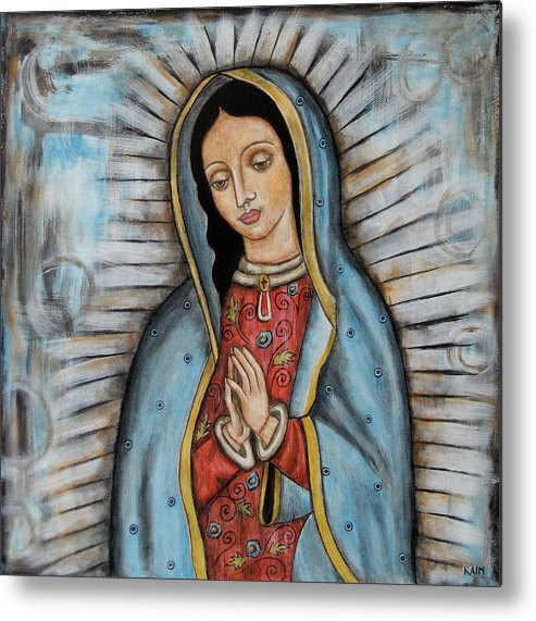 Folk Art Paintings Metal Print featuring the painting Our Lady Of Guadalupe by Rain Ririn