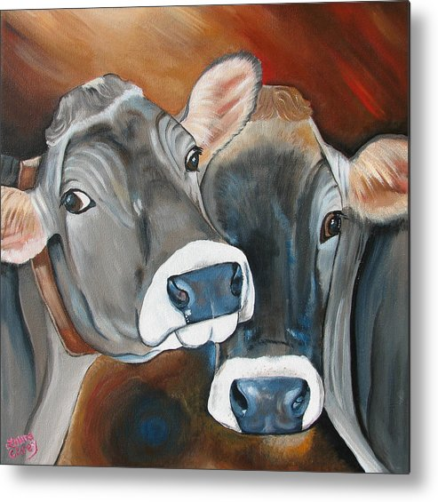 Brown Swiss Metal Print featuring the painting Swiss Misses by Laura Carey