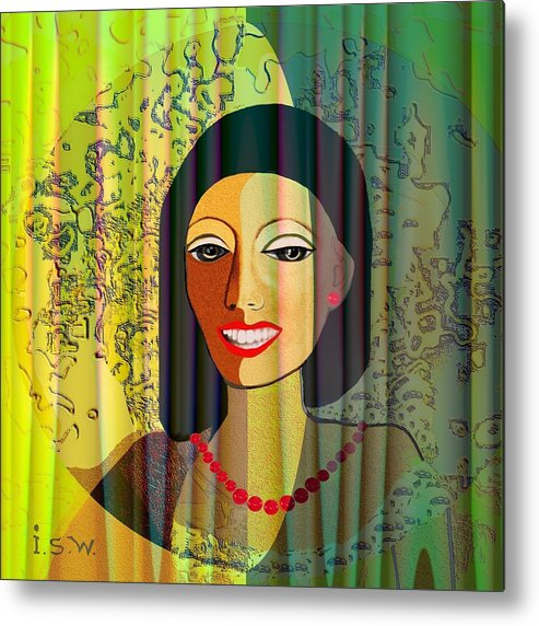 Woman Metal Print featuring the digital art 416 - Lady With Nice Teeth by Irmgard Schoendorf Welch