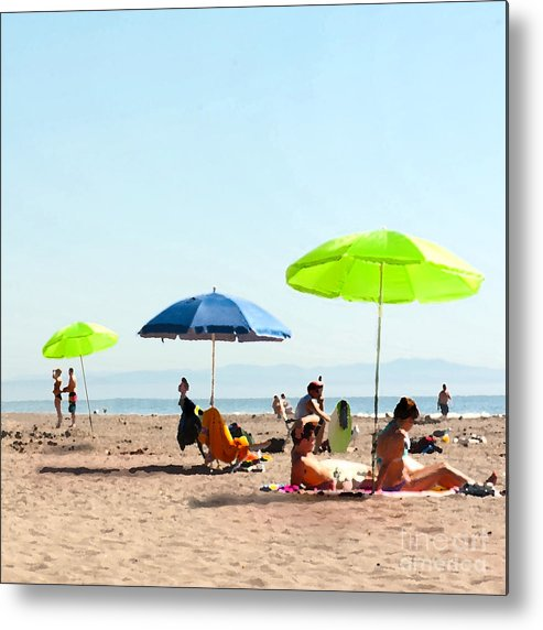 Beach Umbrellas Metal Print featuring the painting A Fine Day At The Beach by Artist and Photographer Laura Wrede