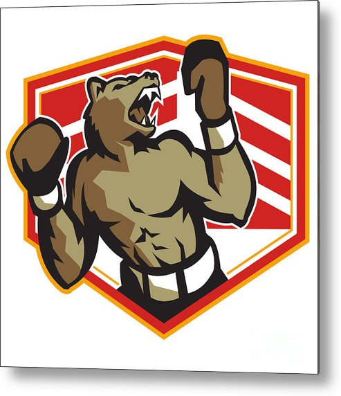 Bear Metal Print featuring the digital art Angry Bear Boxer Boxing Retro by Aloysius Patrimonio