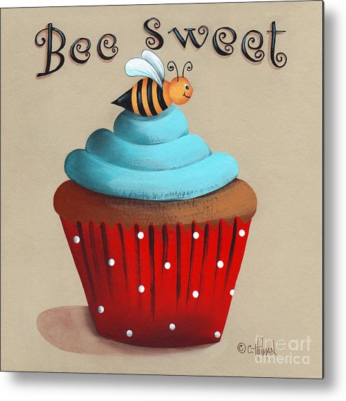 Art Metal Print featuring the painting Bee Sweet Cupcake by Catherine Holman