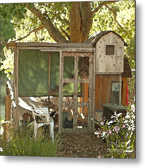 Rooster Art Metal Print featuring the painting Chicken Coop On The Farm by Artist and Photographer Laura Wrede