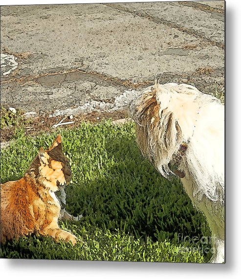 Dog And Cat Fight Metal Print featuring the painting Dog And Cat Discuss by Artist and Photographer Laura Wrede