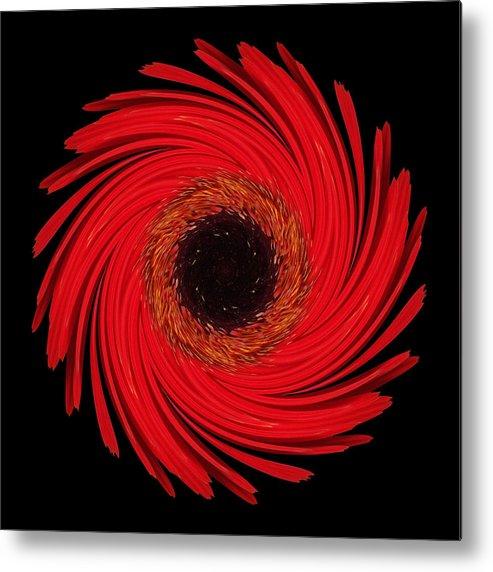 Flower Metal Print featuring the photograph Dying Amaryllis Flower Mandala by David J Bookbinder