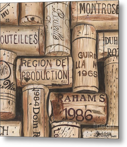 Alcohol Metal Print featuring the painting French Corks by Debbie DeWitt