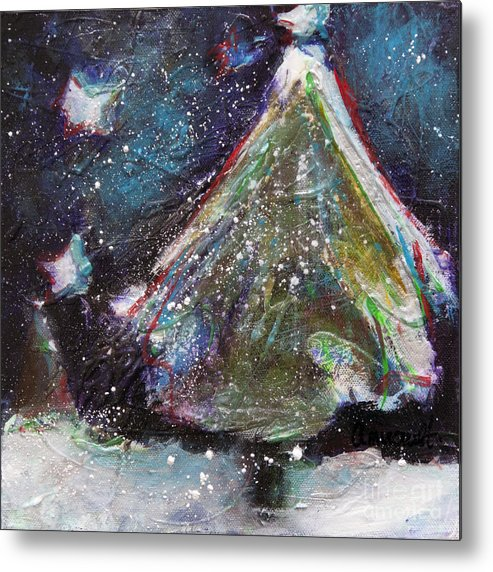 Happy Holidays Metal Print featuring the painting Happy Holidays Blue And Red Wishing Stars by Johane Amirault