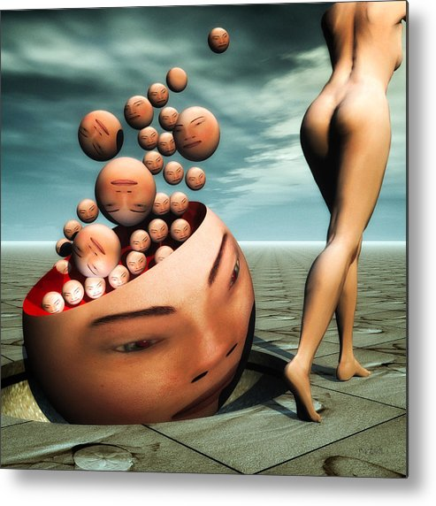 Surreal Metal Print featuring the digital art Heads by Bob Orsillo