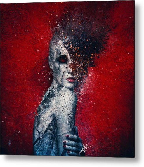 Red Metal Print featuring the digital art Indifference by Mario Sanchez Nevado