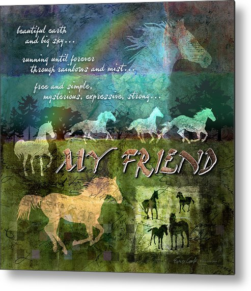Horse Metal Print featuring the digital art My Friend Horses by Evie Cook