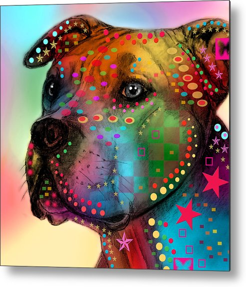 Pop Art Metal Print featuring the painting Pit Bull by Mark Ashkenazi