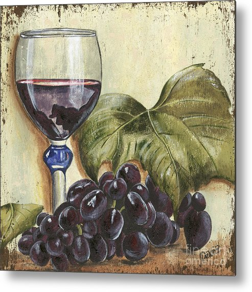Wine Metal Print featuring the painting Red Wine And Grape Leaf by Debbie DeWitt
