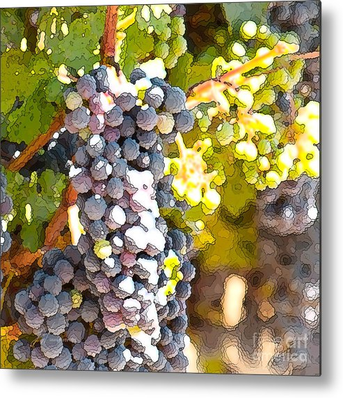 Grapes Metal Print featuring the painting Ripe Grapes by Artist and Photographer Laura Wrede