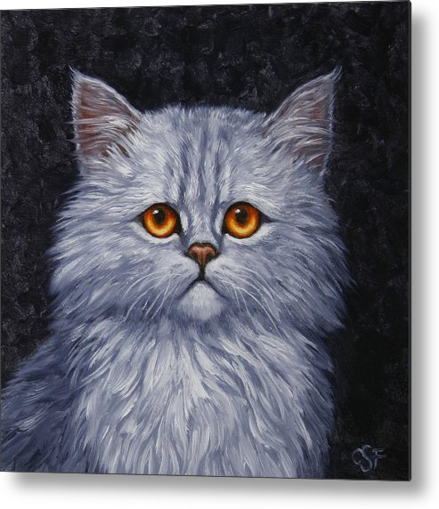 Cat Metal Print featuring the painting Sad Kitty by Crista Forest