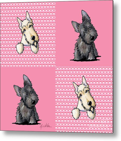 Scottie Metal Print featuring the drawing Scottish Quilt by Kim Niles