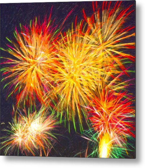 Fireworks Metal Print featuring the digital art Skies Aglow With Fireworks by Mark E Tisdale